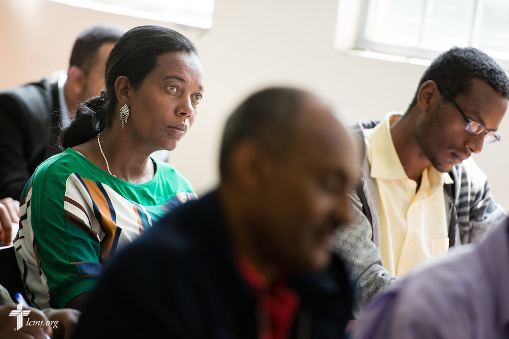 Students listen as the Rev. Dr. Alan Ludwig, a theological educator serving as a missionary in Siberia, Russia, teaches class Thursday, Nov. 13, 2014, at Mekane Yesus Seminary in Addis Ababa, Ethiopia. LCMS Communications/Erik M. Lunsford