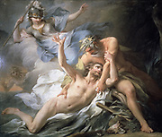 Ulysses Lands on the Isle of Calypso' 1737. Oil on canvas. Ulysses, on way home from Trojan Wars, shipwrecked on Ogygia (Gozo?) and kept there for 7 years by the nymph. Calypso Pierre Charles Tremolieres (1703-1739) French painter.