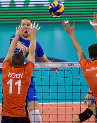 Tine Urnaut #17, Dick Kooy #11, Bas van Bemmelen #8 during volleyball match between National teams of Netherlands and Slovenia in Playoff of 2015 CEV Volleyball European Championship - Men, on October 13, 2015 in Arena Armeec, Sofia, Bulgaria. Photo by Ronald Hoogendoorn / Sportida