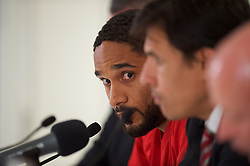 VIENNA, AUSTRIA - Wednesday, October 5, 2016: Wales manager Chris Coleman (R) with Wales captain Ashley Williams (L) during a press conference at the Ernst-Happel-Stadion ahead of the 2018 FIFA World Cup Qualifying Group D match against Austria. (Pic by Peter Powell/Propaganda)