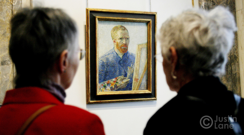 Two women look at a self portrait by Vincent van Gogh at an exhibit exploring the influence of van Gogh on German and Austrian Expressionism at the Neue Galerie in New York, New York on Wednesday 21 March 2007. The exhibit, which features over 80 major paintings, will be open until 02 July 2007.
