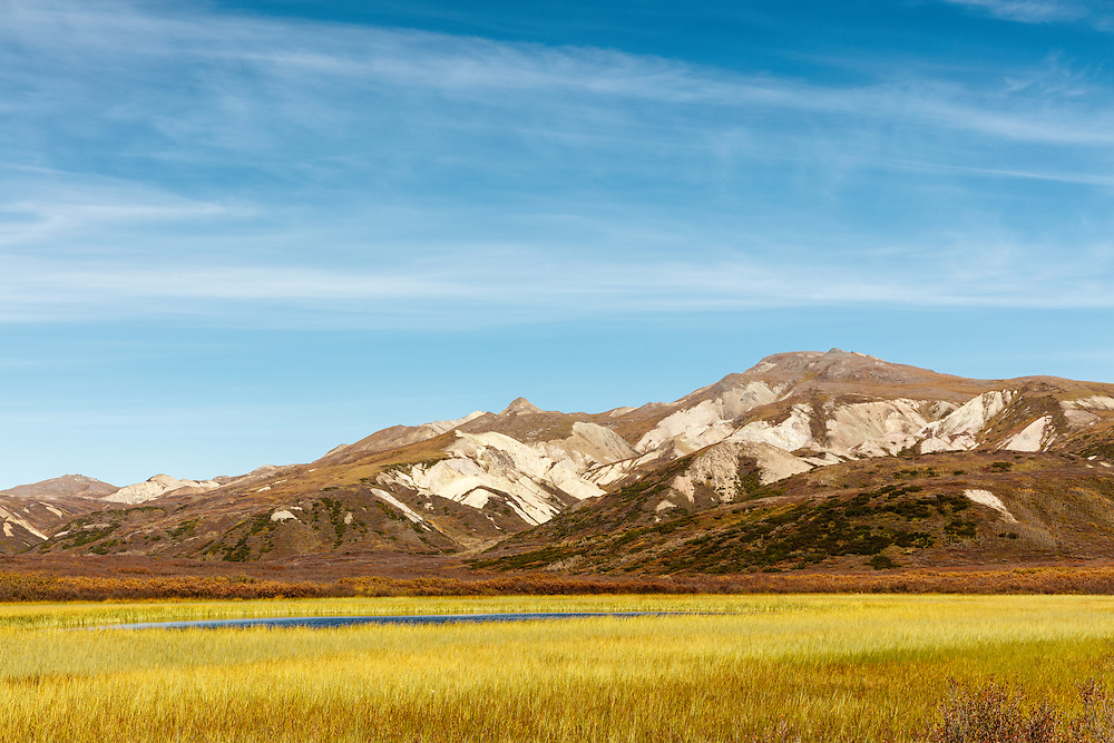 Kettle pond along park road in Denali National Park in Interior Alaska. Autumn. Afternoon.