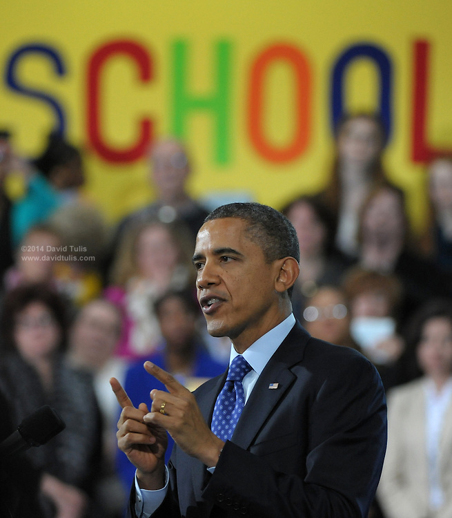 US President Barack Obama speaks at the City of Decatur Recreation Center in Decatur, Georgia, USA, 14 February 2013. Obama was promoting the proposals mentioned in his State of Union speech, including preschool education.