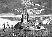 The great Pharos (lighthouse) built in 280 BC on the island of Pharos in the bay of Alexandria, Egypt. 18th century engraving