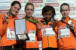 08-12-2013 ATHLETICS: SPAR EC CROSS COUNTRY: BELGRADE<br /> Sifan Hassan heeft vandaag haar favorietenrol waargemaakt. De atlete, die pas enkele weken geleden haar Nederlandse paspoort kreeg, won vandaag het EK Cross onder 23 jaar. Daarnaast was er ook nog een bronzen medaille voor het Nederlandse team met Maureen Koster, Sifan Hassan, Marlin van Hal en Irene van Lieshout<br /> ©2013-WWW.FOTOHOOGENDOORN.NL