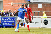 Eastleigh Defender, China Cole (2) chased down by Wrexham AFC Forward, Ntumba Massanka (18) during the Vanarama National League match between Eastleigh and Wrexham FC at Arena Stadium, Eastleigh, United Kingdom on 29 April 2017. Photo by Adam Rivers.