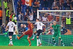 ROME, ITALY - Wednesday, May 2, 2018: Liverpool's James Milner scores an own-goal from AS Roma's Patrik Schick during the UEFA Champions League Semi-Final 2nd Leg match between AS Roma and Liverpool FC at the  Stadio Olimpico. (Pic by David Rawcliffe/Propaganda)