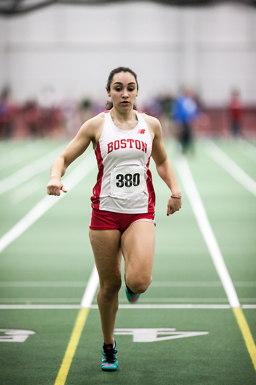 Boston University Multi-team indoor track & field, women 60 meter prelim, BU, 380