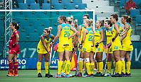 BRUSSEL - Australian team waiting for the video referee    during AUSTRALIA v SPAIN , Fintro Hockey World League Semi-Final (women) . COPYRIGHT KOEN SUYK