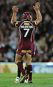 May 25th 2011: Maroons, Jonathan Thurston & Matthew Scott celebrate a favorable referee decision during game 1 of the 2011 State of Origin series at Suncorp Stadium in Brisbane, Australia on May 25, 2011. Photo by Matt Roberts/mattrIMAGES.com.au / QRL