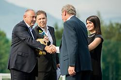 Radenko Mijatovic, Tomaz Klemencic, Milan Mandaric, president of NK Olimpija and Natasa Gavranic during NZS Draw for season 2016/17, on June 24, 2016 in Brdo pri Kranju, Slovenia. Photo by Vid Ponikvar / Sportida