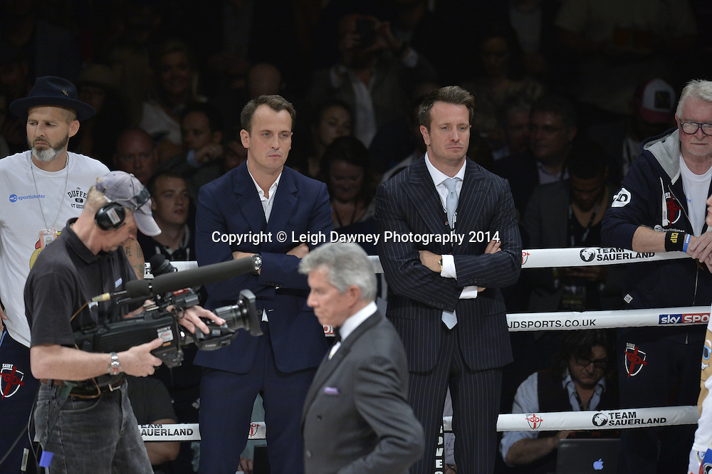 Sauerland brothers in the ring at  the George Groves v Christopher Rebrasse fight for the EBU (European) Super Middleweight Title & Vacant WBC Super Middleweight Title at the SSE Wembley Arena, London on the 20th September 2014. Sauerland Promotions. Credit: Leigh Dawney Photography.