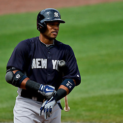 Feb 26, 2013; Clearwater, FL, USA; New York Yankees second baseman Robinson Cano (24) against the Philadelphia Phillies during the top of the first inning of a spring training game at Bright House Field. Mandatory Credit: Derick E. Hingle-USA TODAY Sports