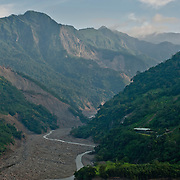 The view north of Yi River. Aftermath of Typhoon Morakot, Namasia, Ming Shen, village, Takanua, Kaoshiung County, Taiwan