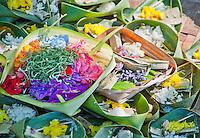 Ceremonial offerings at a funeral in Jimbaran Beach, Bali, Indonesia