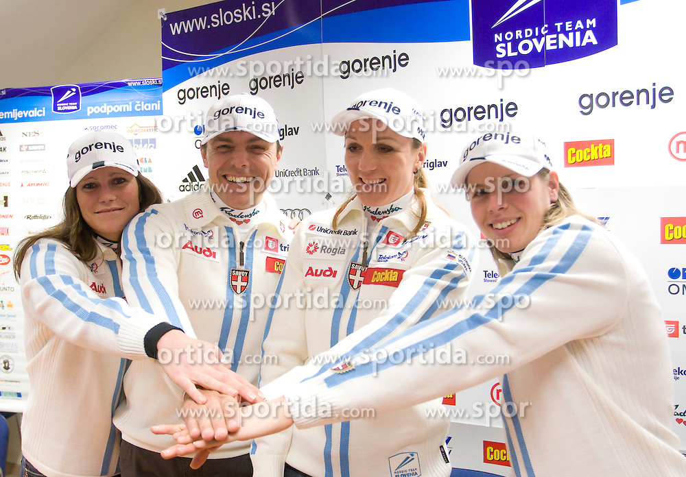 Katja Visnar, Coach Ivan Hudac, Petra Majdic and Vesna Fabjan at press conference of Slovenian Nordic team after victory of P. Majdic in Davos (Switzerland), on December 15, 2008, in Ljubljana, Slovenia. (Photo by Vid Ponikvar / Sportida)
