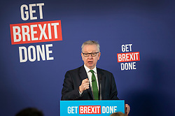 © Licensed to London News Pictures. 29/11/2019. London, UK. Michael Gove hosts a press conference for Prime Minister Boris Johnson in London. Later a seven way TV election debate will take place with senior politicians in Cardiff. Photo credit: Peter Macdiarmid/LNP