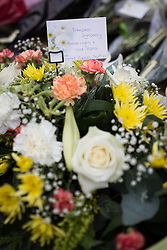 © Licensed to London News Pictures . FILE PICTURE DATED 15/07/2013 . Oldham Street , Manchester , UK .  Flowers and tributes left at the scene on Oldham Street from GMFRS Control Staff , following a fire at Paul 's Hair World on 13th July which claimed the life of fireman Stephen Hunt . Photo credit : Joel Goodman/LNP