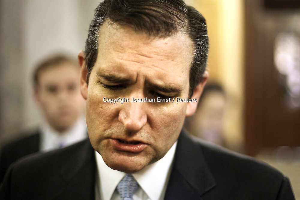 U.S. Senator Ted Cruz (R-TX) talks to reporters after the Senate passed at $1.1 trillion spending bill in the face of end-of-the-year government shutdown shenanigans at the U.S. Capitol in Washington.