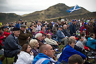 Crowds listening to speeches on Calton Hill in Edinburgh, during a pro-Independence march and rally in the Scottish capital. The event, which was staged in support of the pro-Independence movement, was attended by an estimated by approximately 30,000 people. The referendum to decide whether Scotland will become an independent nation will be staged on 18th September 2014.