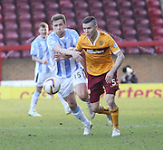 Dundee's Greg Stewart and Motherwell's Simon Ramsden - Motherwell v Dundee, SPFL Premiership at Fir Park<br /> <br />  - &copy; David Young - www.davidyoungphoto.co.uk - email: davidyoungphoto@gmail.com
