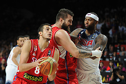 Nemanja Bjelica of Serbia in action during the 2014 FIBA World Basketball Championship Final match between USA and Serbia at the Palacio de los Deportes, on September 14, 2014 in Madrid, Spain. Photo by Tom Luksys  / Sportida.com <br /> ONLY FOR Slovenia, France