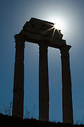 Rome forum columns backlit by the sun.<br /> <br /> Available sizes:<br /> 12&quot; x 18&quot; print <br /> 12&quot; x 18&quot; gallery wrap<br /> See Pricing page for more information.