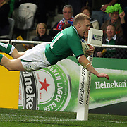Keith Earls, Ireland, dives over for his second try of the match during the Ireland V Italy Pool C match during the IRB Rugby World Cup tournament. Otago Stadium, Dunedin, New Zealand, 2nd October 2011. Photo Tim Clayton...