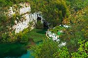 Travertine cascades and boardwalk on the Korana River, Plitvice Lakes National Park, Croatia