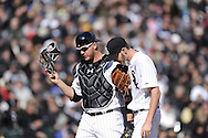 CHICAGO - APRIL 01:  Tyler Flowers #21 talks to Chris Sale #49 of the Chicago White Sox during the game against the Kansas City Royals on April 1, 2013 at U.S. Cellular Field in Chicago, Illinois.  The White Sox defeated the Royals 1-0.  (Photo by Ron Vesely)   Subject: Tyler Flowers; Chris Sale