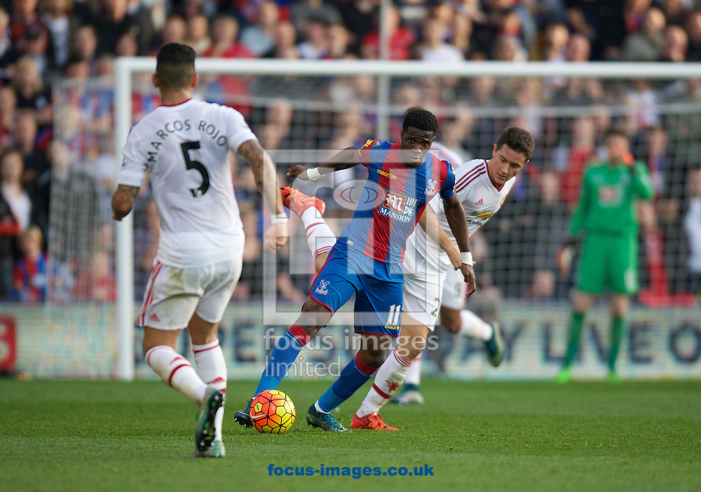 Wilfried Zaha of Crystal Palace and Ander Herrera of Manchester United during the Barclays Premier League match at Selhurst Park, London<br /> Picture by Alan Stanford/Focus Images Ltd +44 7915 056117<br /> 31/10/2015