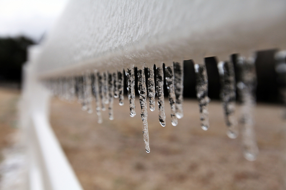 Icicles droop from a fence in the Dunes West neighborhood of Mount Pleasant after a long period of freezing rain ended Wednesday, Jan. 29, 2014. (ANDREW KNAPP/STAFF)