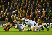 Duhan van der Merwe under pressure during the Guinness Pro 14 2017_18 match between Edinburgh Rugby and Glasgow Warriors at Murrayfield, Edinburgh, Scotland on 23 December 2017. Photo by Kevin Murray.