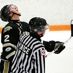 AURORA, ON - Feb 14 : Ontario Junior Hockey League Game Action between the Cobourg Cougars and the Aurora Tigers, Rylee McKinnon #2 of the Cobourg Cougars Hockey Club reacts after a penalty call.<br /> (Photo by Brian Watts / OJHL Images)