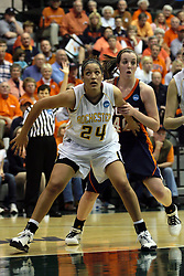 19 March 2010: Madeline Korber blocks out Meredith Kussmaul. The Flying Dutch of Hope College defeat the Yellowjackets of the University of Rochester in the semi-final round of the Division 3 Women's Basketball Championship by a score of 86-75 at the Shirk Center at Illinois Wesleyan in Bloomington Illinois.