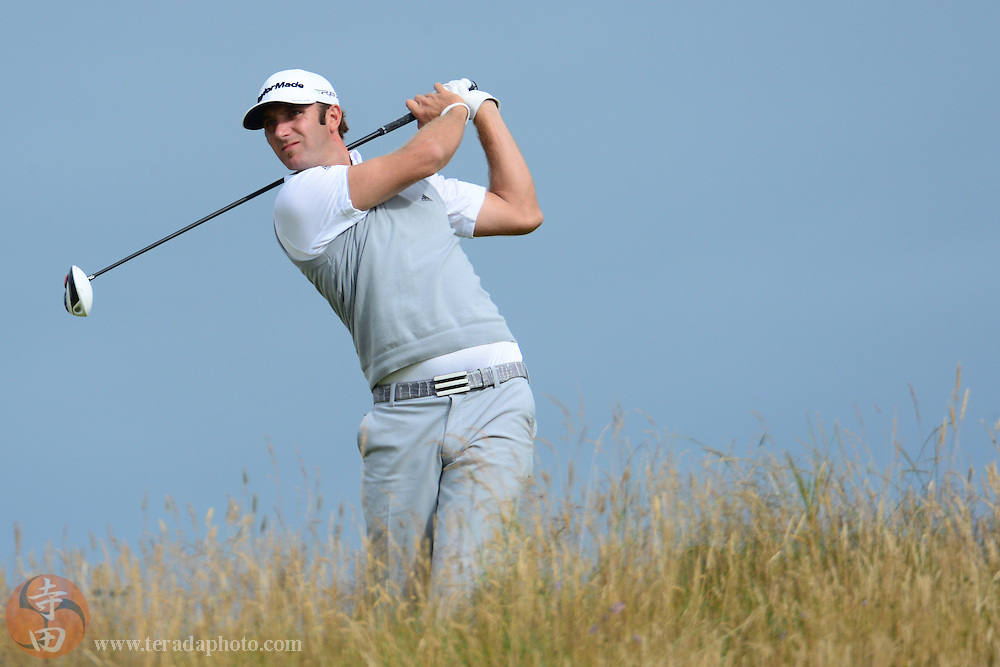 July 20, 2012; St. Annes, ENGLAND; Dustin Johnson tees off on the 11th hole during the second round of the 2012 British Open Championship at Royal Lytham & St. Annes Golf Club.