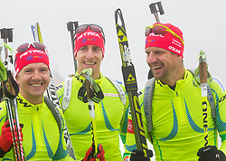Peter Dokl, Lenart Oblak and Janez Maric during media day of Slovenian biathlon team before new season 2013/14 on November 14, 2013 in Rudno polje, Pokljuka, Slovenia. Photo by Vid Ponikvar / Sportida