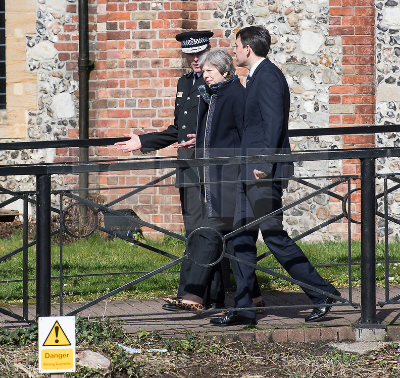 © Licensed to London News Pictures. 15/03/2018. Salisbury, UK. British Prime Minister THERESA MAY is seen outside The Mill Pub, during a visit to Salisbury, Wiltshire where Former Russian spy Sergei Skripal and his daughter Yulia were found after being poisoned with nerve agent. The couple where found unconscious on bench in Salisbury shopping centre. A policeman who went to their aid is currently recovering in hospital. Photo credit: Ben Cawthra/LNP