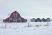 Old barn and graneries in winter<br /> Spruce Home<br /> Saskatchewan<br /> Canada