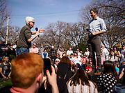 """06 APRIL 2019 - DES MOINES, IOWA:  TIM LANE, from Des Moines, left, asks BETO O'ROURKE a question at """"House Party"""" campaign event at a private residence in Des Moines. O'Rourke held a series of """"house parties"""" in Des Moines Saturday as a part of his 2020 campaign to be the Democratic nominee for the US Presidential election. He is crisscrossing Iowa through the weekend with stops throughout the state. Iowa holds its caucuses, considered the kickoff of the US Presidential campaign, on Feb. 3, 2020.    PHOTO BY JACK KURTZ"""
