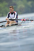 Bled, SLOVENIA,  USA M1X, Warren ANDERSON,  moves  away from the start, in his heat of the men's single sculls  on the opening day, FISA World Cup, Bled venue, Lake Bled.  Friday  28/05/2010  [Mandatory Credit Peter Spurrier/ Intersport Images] Cop last event as international level.