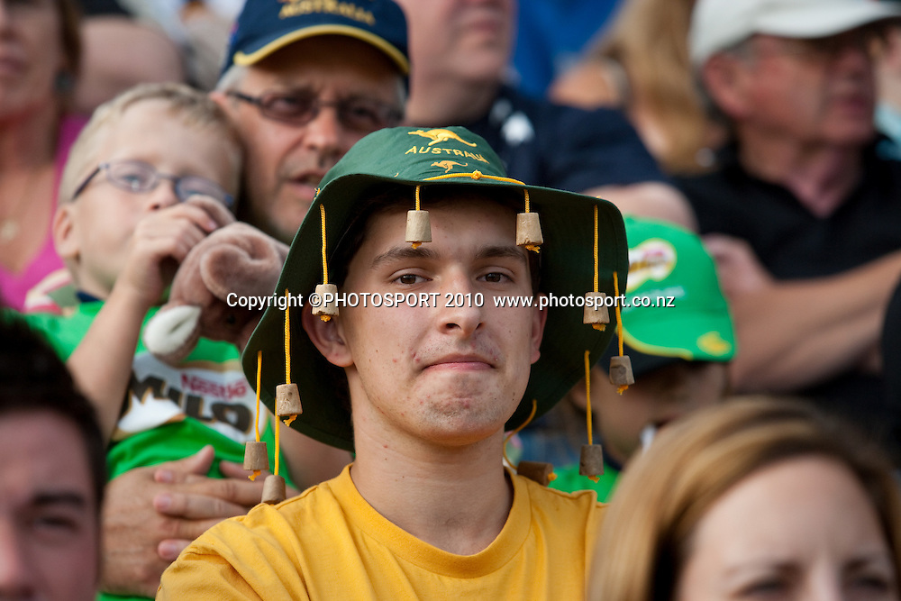 Australian fan in the crowd wearing cork screw hat during the third one day Chappell Hadlee cricket series match between New Zealand Black Caps and Australia at Seddon Park, won by Australia by 6 wickets in Hamilton, New Zealand. Tuesday 9 March 2010. Photo: Stephen Barker/PHOTOSPORT