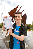Ciaran Ó Dubhaill from Craughwell Galway who went to school in gaelscoil Colaiste na Coirbe, Galway who got 9 A1's celebrates in Eyre Square Galway. Photo:Andrew Downes