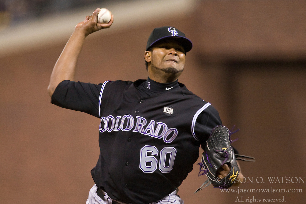 April 30, 2010; San Francisco, CA, USA;  Colorado Rockies relief pitcher Manuel Corpas (60) during the seventh inning against the San Francisco Giants at AT&T Park. San Francisco defeated Colorado 5-2.