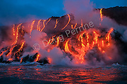 red hot lava from Kilauea Volcano flows into ocean at West Kailiili ocean entry in Hawaii Volcanoes National Park, west of Kalapana, Hawaii Island ( the Big Island ), Hawaiian Islands, U.S.A. ( Central Pacific Ocean )