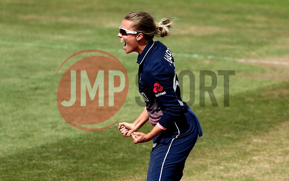 Alex Hartley of England Women celebrates after taking the wicket of Meg Lanning of Australia Women - Mandatory by-line: Robbie Stephenson/JMP - 09/07/2017 - CRICKET - Bristol County Ground - Bristol, United Kingdom - England v Australia - ICC Women's World Cup match 19