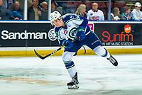 KELOWNA, BC - OCTOBER 16:  Kye Buchanan #34 of the Swift Current Broncos takes a shot during warm up against the Kelowna Rockets at Prospera Place on October 16, 2019 in Kelowna, Canada. (Photo by Marissa Baecker/Shoot the Breeze)
