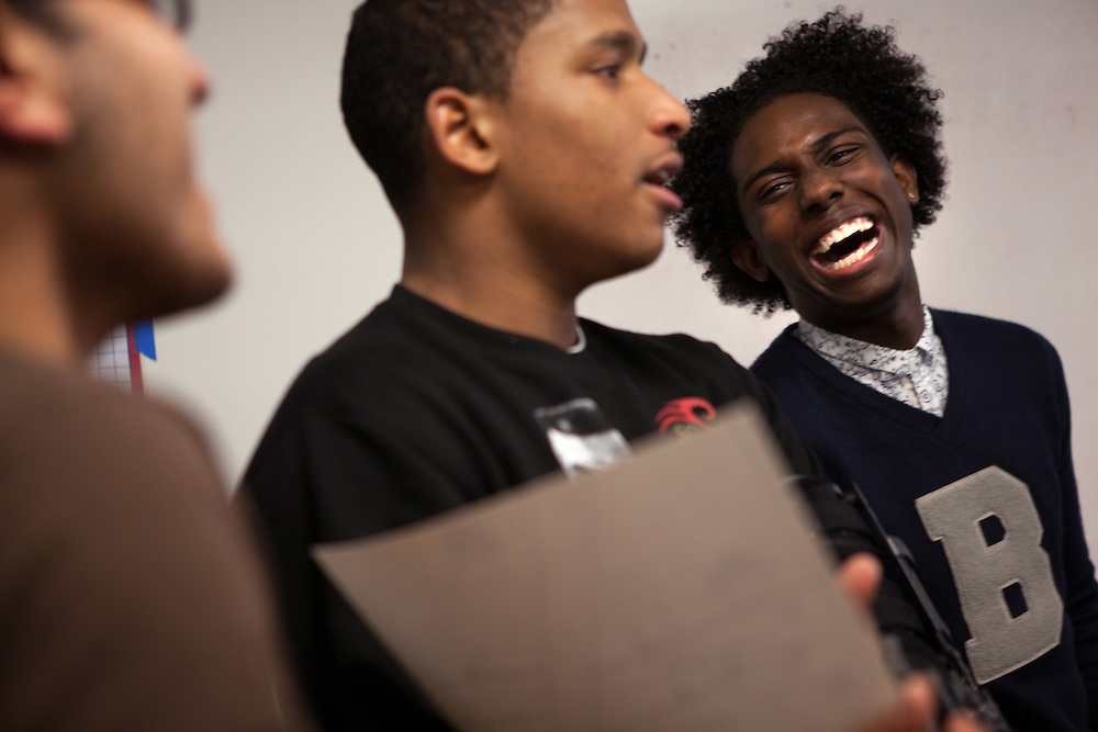 From left: Gurparshad Singh, 17, Omari Ross, 18 and Rashawn Russell, 18, from the Babsou Posse 11, during small group activities at the Posse Foundation in New York, NY on April 01, 2014. Students in the Posse Foundation are chosen as scholars and go through college prep together as seniors in high school then attend the same college campus together where they get ongoing support. The Posse Foundation has identified, recruited and trained 5,544 public high school students with extraordinary academic and leadership potential to become Posse Scholars over the past 25 years.
