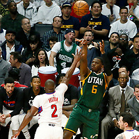 25 April 2017: Utah Jazz forward Joe Johnson (6) takes a jump shot over LA Clippers guard Raymond Felton (2) during the Utah Jazz 96-92 victory over the Los Angeles Clippers, during game 5 of the first round of the Western Conference playoffs, at the Staples Center, Los Angeles, California, USA.