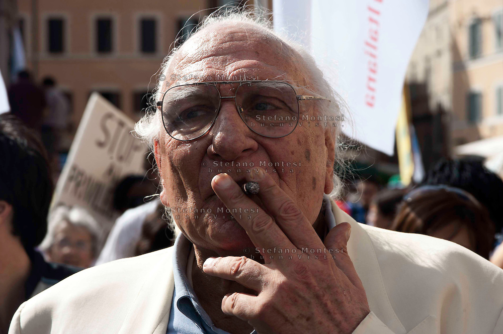 Leader of the Italian Radical party Marco Pannella  during Before the march for religious freedom and pluralism of information, initiated by the Italian Radicals and Italian Evangelical Alliance  on June 19, 2010 in Rome, Italy.